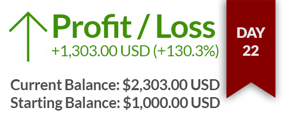 Day 22 – $1303 USD Gained